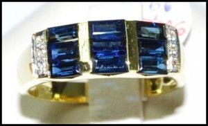 For Men Blue Sapphire Eternity Diamond 18K Yellow Gold Ring [RQ0041]