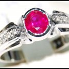 18K White Gold Natural Oval Ruby Red and Diamond Ring [RS0194]