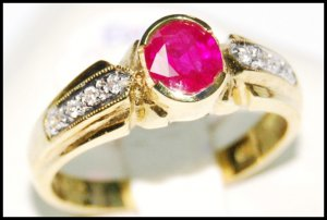 Genuine Diamond Solitaire Ruby Ring 18K Yellow Gold [RS0194]