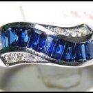 Wedding 18K White Gold Gemstone Diamond Blue Sapphire Ring [RQ0033]