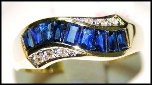 18K Yellow Gold Diamond Eternity For Men Blue Sapphire Ring [RQ0033]