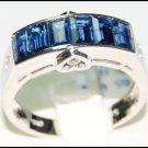 Gemstone Diamond 18K White Gold Unique Blue Sapphire Ring [RQ0030]