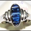 Blue Sapphire Natural 18K White Gold Diamond Ring Gemstone [RQ0039]