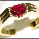 Wedding Natural Solitaire Ruby Unique 18K Yellow Gold Ring [RS0118]