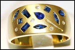 Wedding Diamond Blue Sapphire 18K Yellow Gold Band Ring [RF0004]