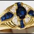 Blue Sapphire Wedding Gemstone Diamond Ring 14K Yellow Gold [RR076]