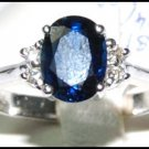 Unique Solitaire Diamond Blue Sapphire Ring 18K White Gold [RS0020]