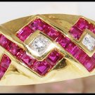 18K Yellow Gold Diamond and Natural Ruby Cross Ring [R0037]