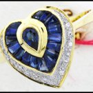 Diamond 18K Yellow Gold Cocktail Blue Sapphire Heart Ring [RF0031]