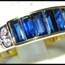Natural Diamond Blue Sapphire For Men 18K Yellow Gold Ring [RQ0031]