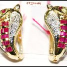 Gemstone Clip-On 14K Yellow Gold Snake Ruby Earrings [E_105]