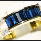 Natural For Men Blue Sapphire Diamond 18K Yellow Gold Ring [RQ0021]