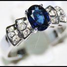 Wedding Solitaire Blue Sapphire Diamond Ring 18K White Gold [RS0029]