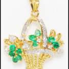 Flower Brooch/Pendant 18K Yellow Gold Diamond Emerald [I_011]
