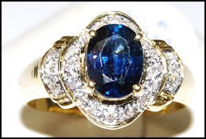 Natural Diamond Solitaire Blue Sapphire Ring 18K Yellow Gold [RS0125]
