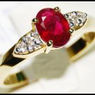 18K Yellow Gold Solitaire Diamond Wedding Ruby Ring [RS0094]