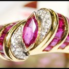 Jewelry Ruby and Diamond Ring Unique 18K Yellow Gold [RF0008]