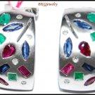 Natural Diamond 14K White Gold Multi Gemstone Earrings [E_098]