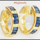 18K Yellow Gold Diamond Blue Sapphire Huggie Earrings [EL0010]