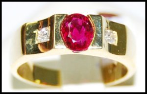 Diamond Solitaire Ruby Genuine 18K Yellow Gold Ring [RS0146]