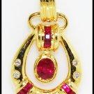 Diamond Genuine Gemstone 18K Yellow Gold Pendant Ruby [P0091]