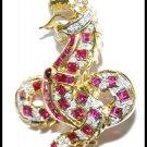King of Nagas Ruby Diamond Brooch/Pendant 18K Yellow Gold [I_024]