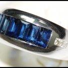 Jewelry 18K White Gold Diamond Blue Sapphire Ring Gemstone [RQ0025]