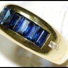 Diamond 18K Yellow Gold For Men Blue Sapphire Wedding Ring [RQ0025]