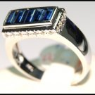 Eternity Diamond Gemstone 18K White Gold Blue Sapphire Ring [RQ0007]
