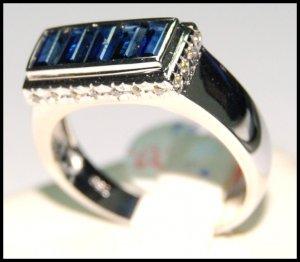 Eternity Diamond Gemstone 18K White Gold Blue Sapphire Ring [RQ0007]