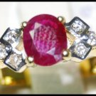 Ruby Solitaire Natural Diamond Ring 18K Yellow Gold [RS0034]