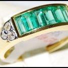 Emerald Gemstone Jewelry Diamond Ring 18K Yellow Gold [RQ0031]