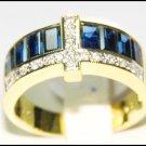 18K Yellow Gold For Men Blue Sapphire Cross Diamond Ring [RQ0040]