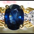 18K Yellow Gold Diamond Genuine Solitaire Blue Sapphire Ring [RS0163]