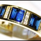 For Men Genuine Blue Sapphire Diamond 18K Yellow Gold Ring [RQ0052]