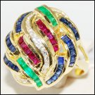 Eternity Cocktail Diamond 18K Yellow Gold Multi Gemstone Ring [R0060]