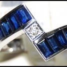 Wedding Diamond Gemstone Blue Sapphire Ring 18K White Gold [RQ0005]