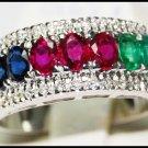 Multi Gemstone Jewelry Eternity 18K White Gold Diamond Ring [R0127]
