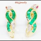 Diamond Jewelry 18K Yellow Gold Emerald Snake Earrings [E0061]