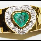 Diamond Cocktail 18K Yellow Gold Emerald Heart Ring [RF0027]