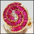 Circle For Men Red Ruby and Diamond Ring 18K Yellow Gold [R0062]