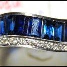 Natural Blue Sapphire Gemstone 18K White Gold Diamond Ring [RQ0019]