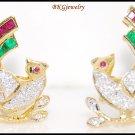 18K Yellow Gold Eternity Multi Gemstone Diamond Bird Earrings [E0064]