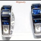 Eternity Diamond Blue Sapphire 18K White Gold Earrings [E0079]