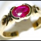Solitaire Ruby Jewelry Ring Unique 18K Yellow Gold [RS0061]