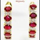 18K Yellow Gold Diamond Eternity Gemstone Ruby Earrings [E0077]