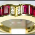 Heart Design Ruby and Diamond Unique 18K Yellow Gold Ring [RQ0032]
