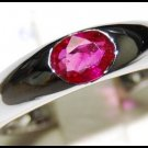18K White Gold Genuine Oval Ruby Solitaire Band Ring [RS0014]