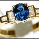 Diamond 18K Yellow Gold Unique Solitaire Blue Sapphire Ring [RS0084]