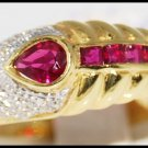 Natural Diamond and Pear Ruby Red Unique 18K Yellow Gold [R0036]